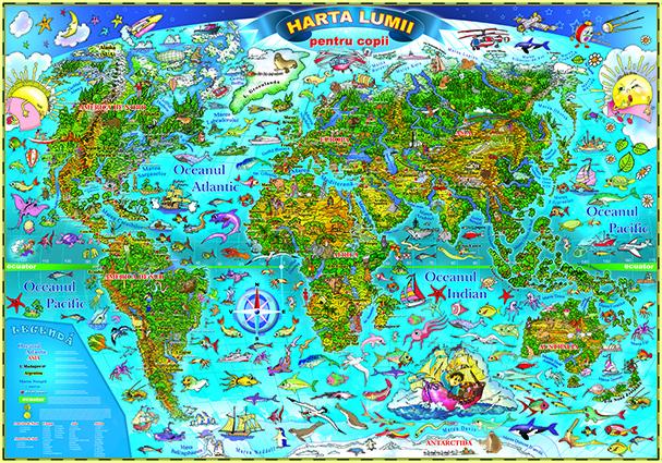 Lumea. Harta desenata pentru copii fara sipci