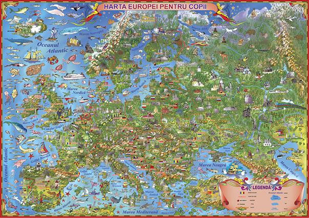 Europa. Harta desenata pentru copii fara sipci
